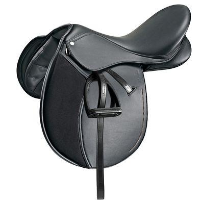 """Selle polyvalente synthétique équipée équitation poney SYNTHIA noir 15"""""""
