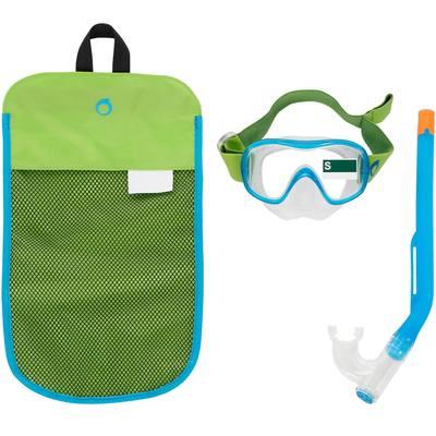 Kit de snorkeling masque tuba SNK 520 enfant vert bleu