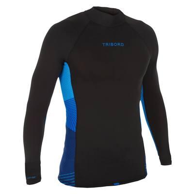 tee shirt anti uv surf top 500 manches longues homme Noir rayé