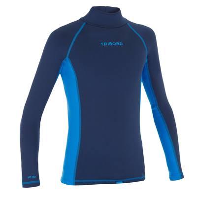 tee shirt anti UV surf top thermique manches longues enfant bleu