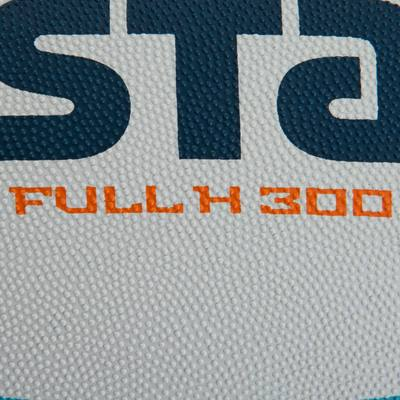 Ballon rugby Full H 300 taille 5 blanc turquoise orange