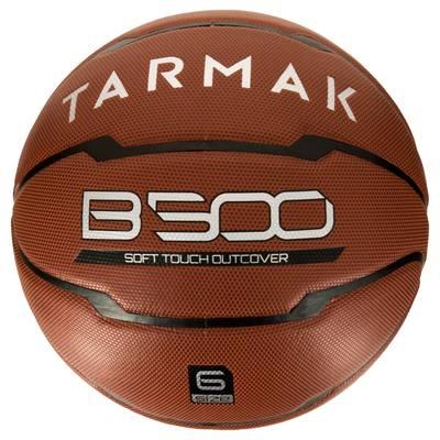 Ballon de basket femme B500 taille 6 marron. Cuir synthétique. Après 10 ans.