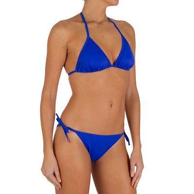 Haut de maillot de bain femme triangle coulissant MAE uni bleu