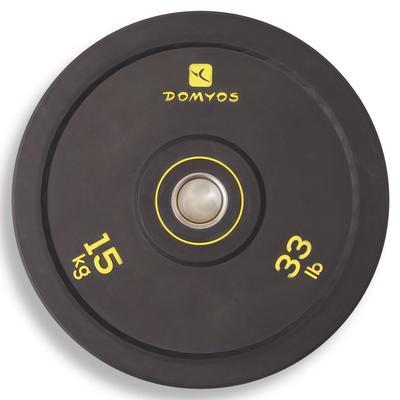 Disque bumper d'haltérophilie 15 kg, diamètre intérieur 50 mm
