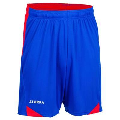 Short de handball H500 homme bleu et rouge