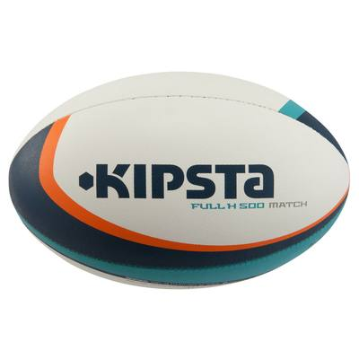 Ballon rugby Full H 500 taille 5 turquoise orange