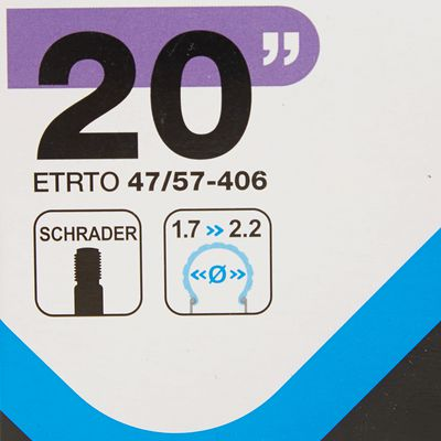 CHAMBRE A AIR 20 POUCES SECTION 1,7 A 2,2 VALVE SCHRADER