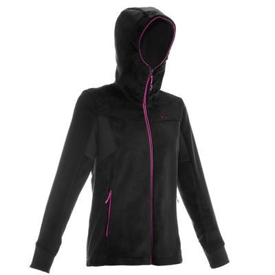 Veste polaire de randonnée montagne femme Forclaz 500 noir