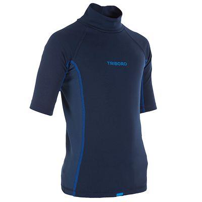 tee shirt anti UV surf top thermique manches courtes enfant bleu