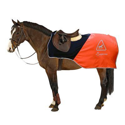 Couvre-reins équitation cheval orange et noir