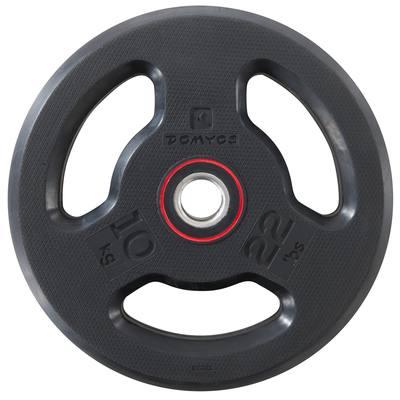 Disque musculation 28 mm caoutchouc 10 kg