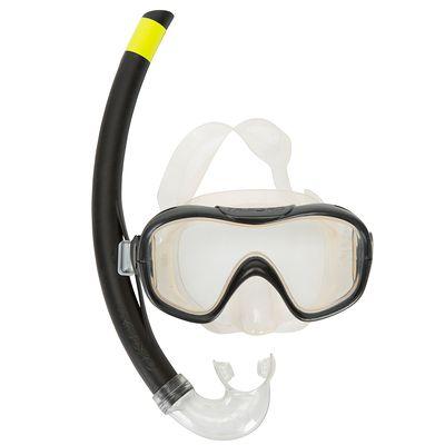 Kit de snorkeling Masque Tuba 100 enfant et adulte noir