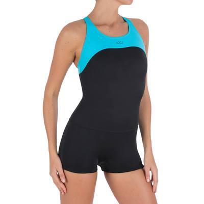 Maillot de bain de natation forme shorty une pièce femme Leony cut noir bleu