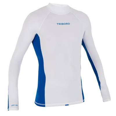 tee shirt anti uv surf top 500 manches longues homme blanc bleu