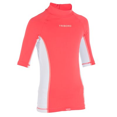 TOP anti-UV Manches Courtes Enfant Ride Rose Blanc
