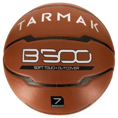 Ballon de basket homme B500 taille 7 marron. Cuir synthétique. Après 12 ans.