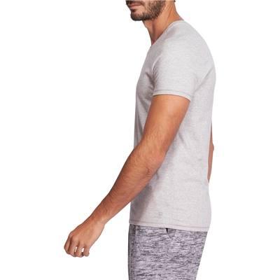 T-Shirt 500 Gym   Pilates slim col V homme gris chiné moyen - Clubs ... c1f5acd6604