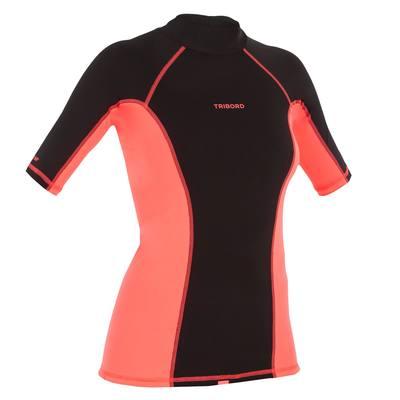 tee shirt anti uv surf top 500 manches courtes femme Noir rose