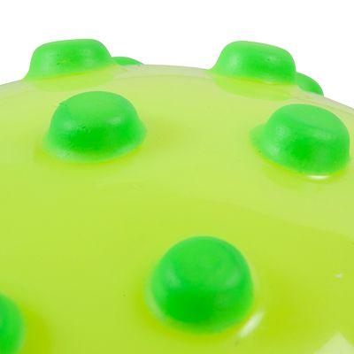Ballon jaune fluo avec picots verts en mousse. Environ 15cm diamètre