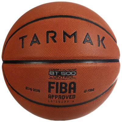 BALLON DE BASKET BT500 TAILLE 6 MARRON FIBA