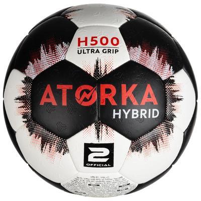 Ballon de handball H500 T2 noir / blanc