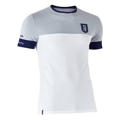T-shirt de football adulte FF1100 France blanc gris chiné