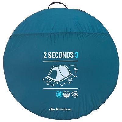Tente de camping 2 SECONDS | 3 personnes bleu