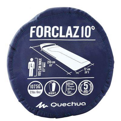 Sac de couchage de randonnée FORCLAZ 10° bleu zip droit