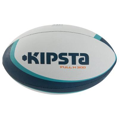 Ballon rugby R300 taille 5 blanc turquoise orange