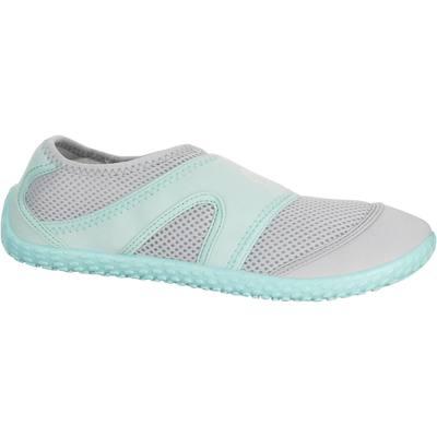 Chaussures aquatiques Aquashoes 100 grises claires vertes menthe