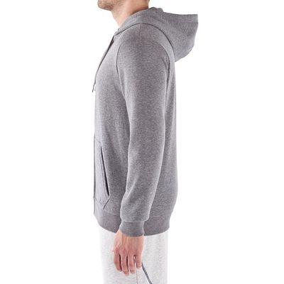 Veste capuche musculation homme gris chiné clair