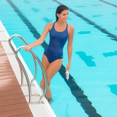 Maillot de bain de natation une piece femme Leony Bleu