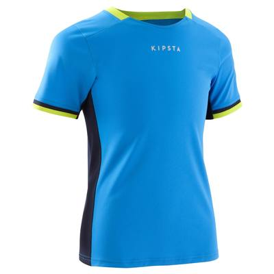 Maillot football enfant F500 bleu clair bleu marine vert