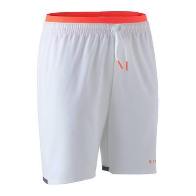 Short de football enfant F500 blanc et orange