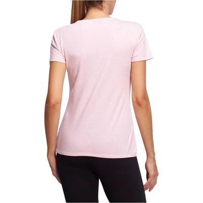... T-Shirt 500 manches courtes régular Gym   Pilates femme rose chiné ... 22fe4cef61f