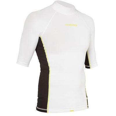 Tee shirt anti UV surf top 500 Manches Courtes Homme Blanc Noir