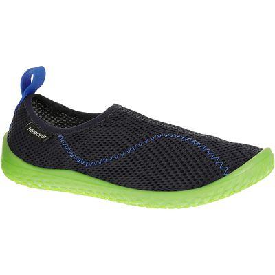 Chaussures aquatiques Aquashoes 100 enfant bleues foncées vertes