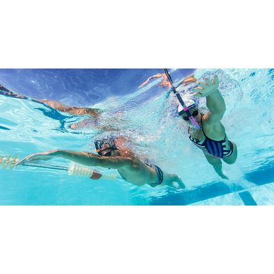 Tuba frontal natation nabaiji bleu foncé orange