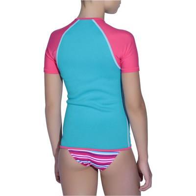 Top de snorkeling enfant turquoise rose