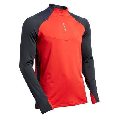 Sweat de football 1/2 zip adulte T500 gris carbone et rouge