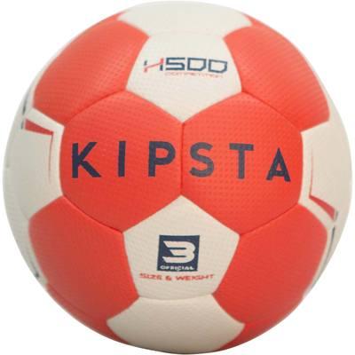 Ballon de handball adulte hybride H500 Taille 3 rouge et gris