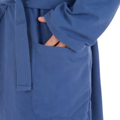 30f6f09e114d4 Peignoir homme bleu foncé compact et microfibre avec capuche, poches et  ceinture. < >