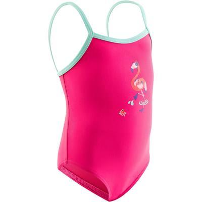 Maillot de bain bébé fille une pièce rose avec imprimé Flamingo