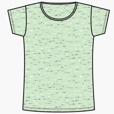 T-Shirt 500 regular Pilates Gym douce femme vert clair chiné