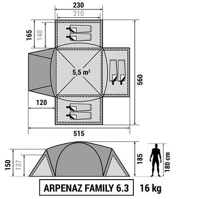Tente de camping familiale arpenaz 6.3 I 6 personnes