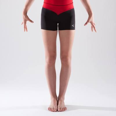 Short de gymnastique artistique féminine ceinture rouge sequins