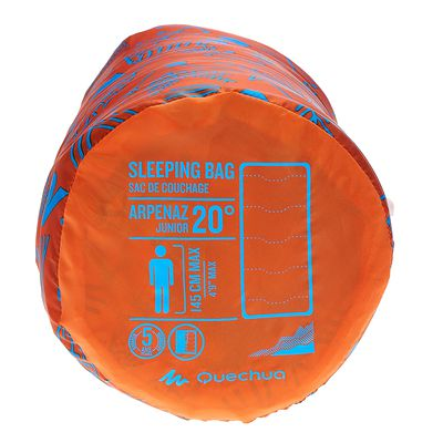 Sac de couchage de camping enfant ARPENAZ 20° orange