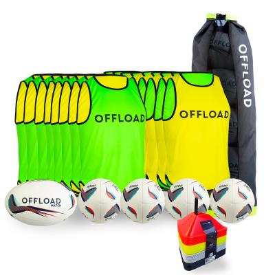 KIT RUGBY SEANCE TRAINING BALLON RUGBY R500 TAILLE 5 .