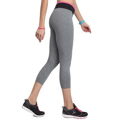 Legging 7/8 BREATHE fitness femme gris chiné ceinture contrastée bicolore