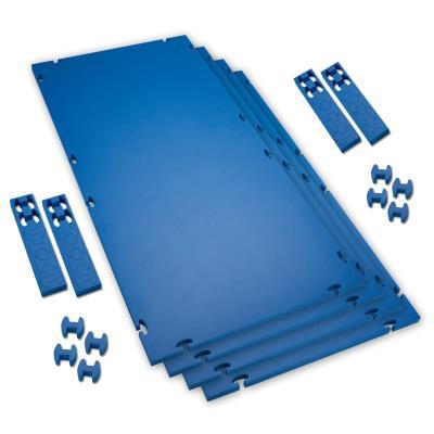 LOT DE 4 TAPIS EMBOITABLES PVC BLEU/BLEU
